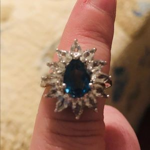 Sterl. silver & created white and blue topaz ring